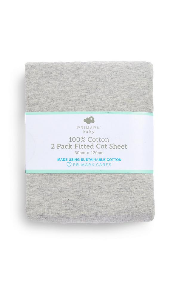 Grey Cotton Jersey Fitted Cot Sheet 2 Pack