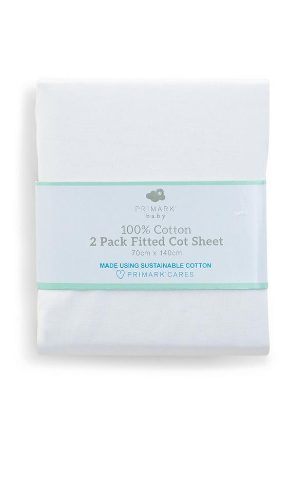 White Baby Cot Bed Fitted Sheet 2 Pack