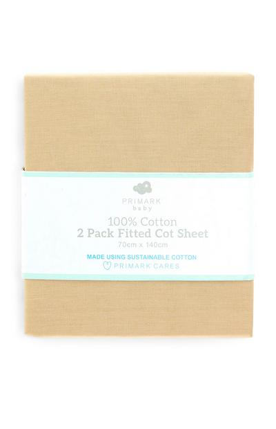 Beige 100 Percent Cotton Fitted Cot Bed Sheet 2 Pack