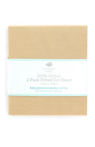 Bež 100-odstotno bombažna napenjalna rjuha za otroško posteljico, 2 kosa