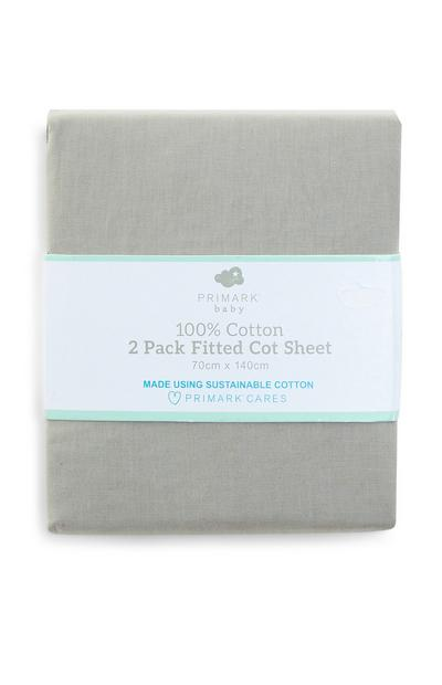 Grey 100 Percent Cotton Fitted Cot Bed Sheet 2 Pack