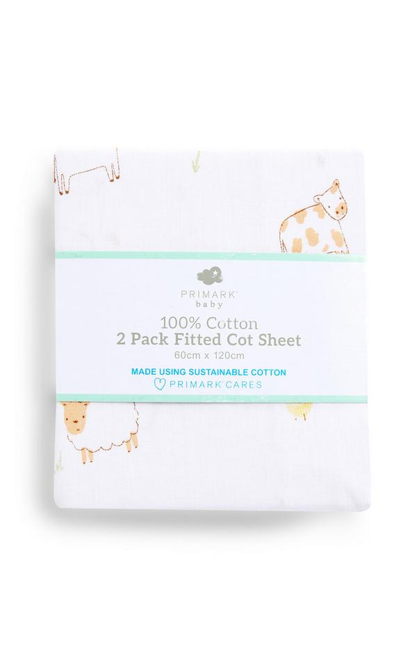 Pack de 2 sábanas bajeras para cuna de algodón con estampado de animales