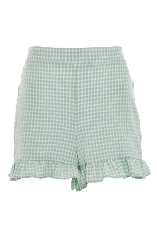 Grüne Shorts mit Vichy-Karo und Rüschensaum