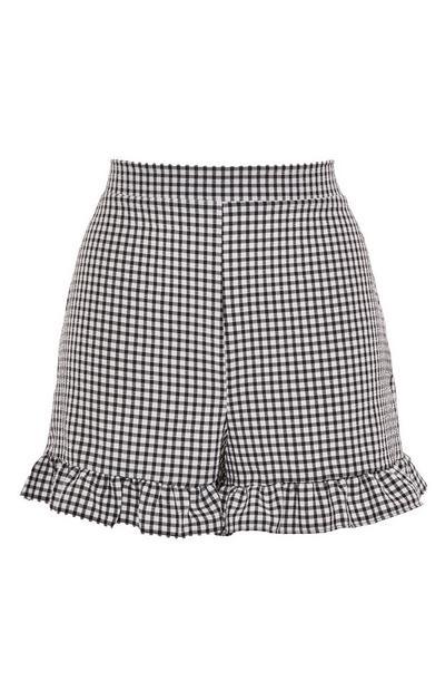 Monochrome Gingham Frill Shorts