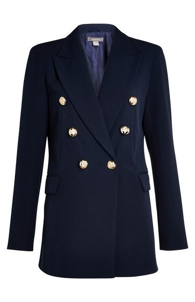 Donkerblauwe double-breasted blazer