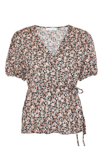 Floral Print Viscose Short Sleeve Wrap Blouse