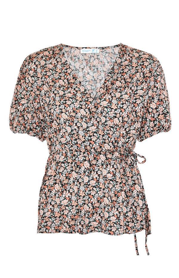 Floral Print Viscose Short Sleeve Wrap Blouse