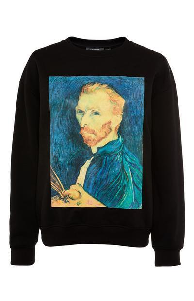 Felpa nera con stampa artistica di Vincent Van Gogh