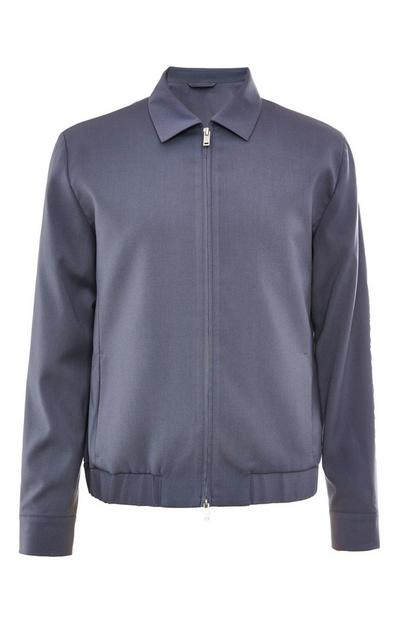 Premium Powder Blue Collar Bomber Jacket