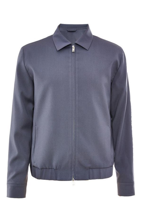 Premium Powder Blue Collar Bomber Jacket