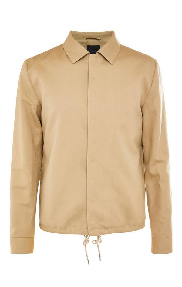 Premium Camel Linen Drawstring Bomber Jacket