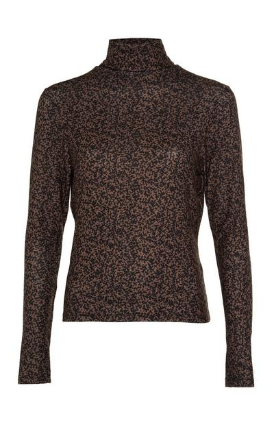 Brown Patterned Touch Roll Neck Top