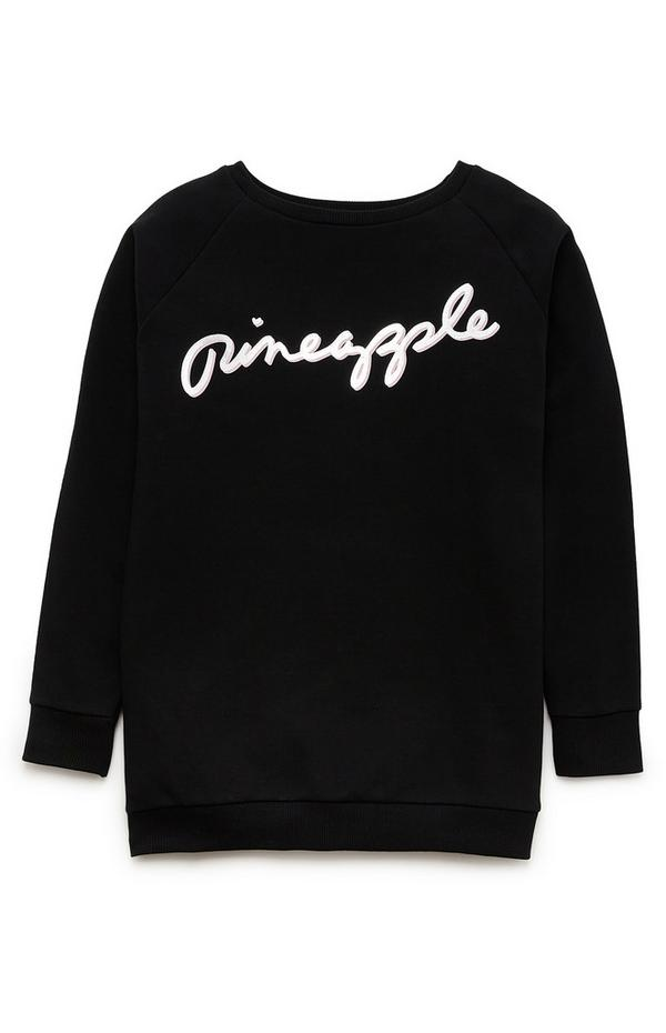 "Schwarzer ""Pineapple"" Pullover im Oversized-Look (Teeny Girls)"