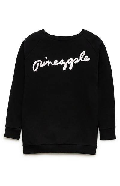 "Schwarzer ""Pineapple"" Pullover im Oversized-Look (Teeny Girls)"