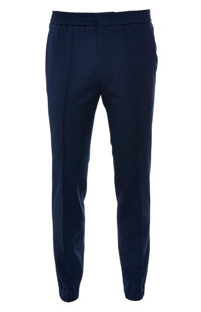 Pantalon bleu marine en crêpe de coton Premium