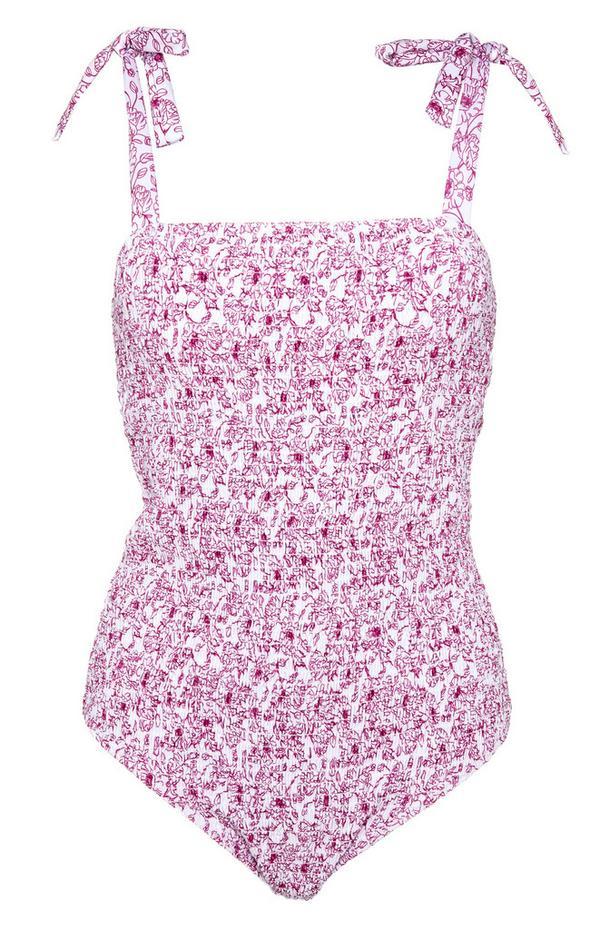 Pink Pattern Shirred Tie Strap Swimsuit