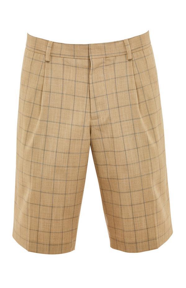 Pantalón corto a cuadros camel prémium