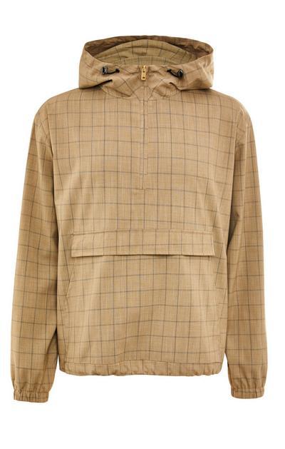 Premium karirasta jakna za čez glavo kamelje barve