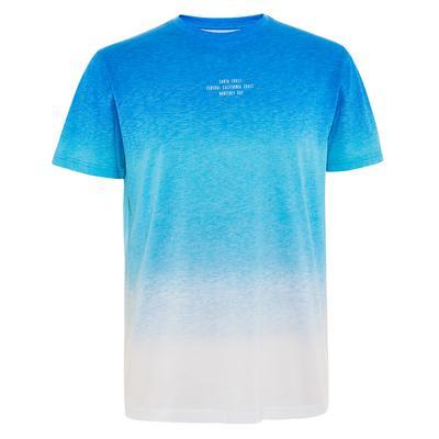 Blau-weißes T-Shirt im Dip-Dye-Look