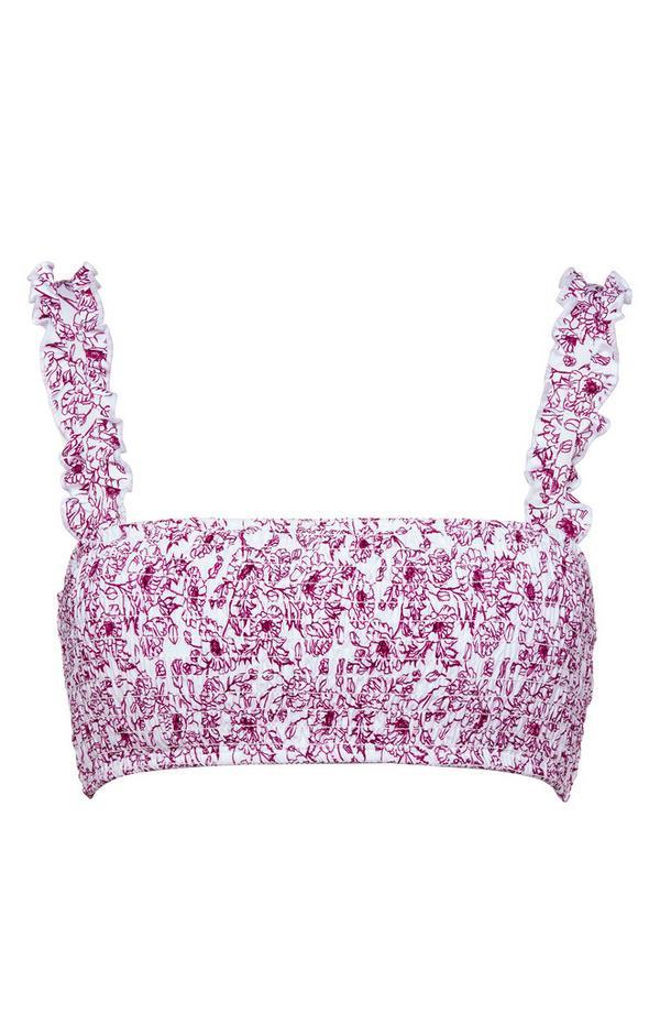 Pink Print Ruffle Shoulder Bikini Top