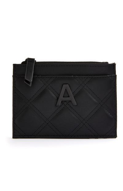 Black Quilted Initial Cardholder