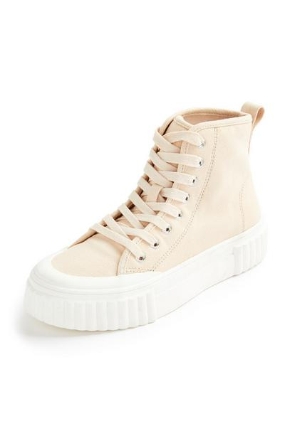 Ecrufarbene High-Top-Sneaker aus Canvas mit Riffelsohle
