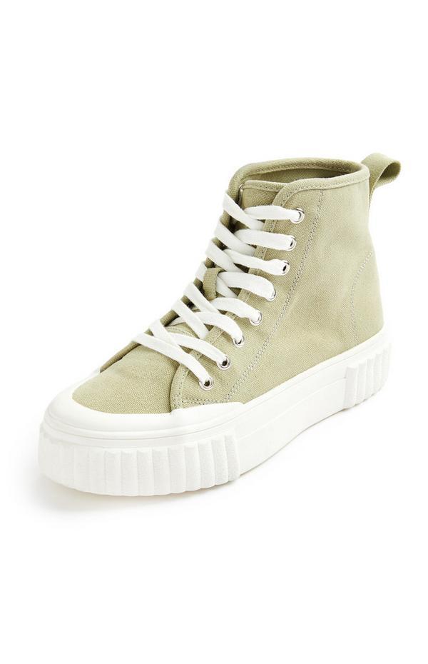 Khakifarbene High-Top-Sneaker aus Canvas mit geriffelter Sohle