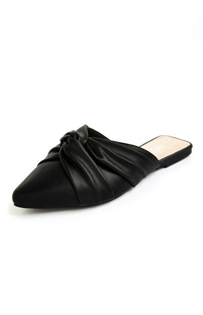 Black Soft Knot Pointed Toe Mules