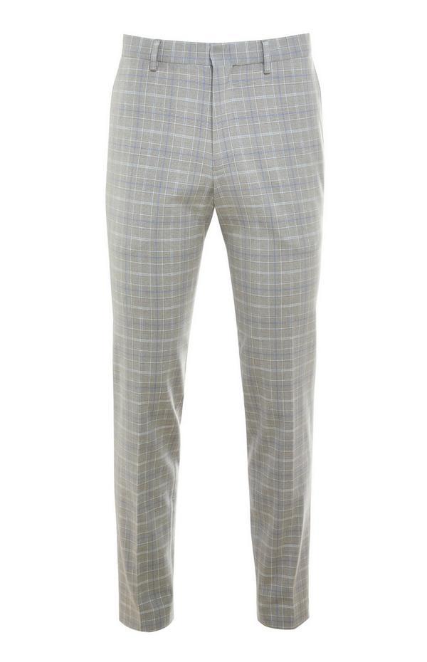 Pantalon gris à carreaux Premium