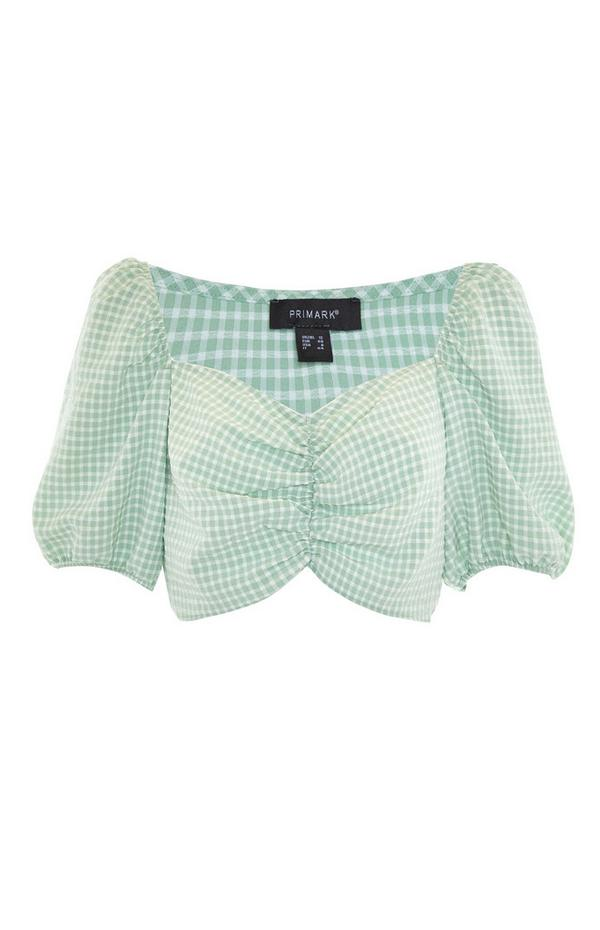 Mint Green Gingham Rouched Crop Top