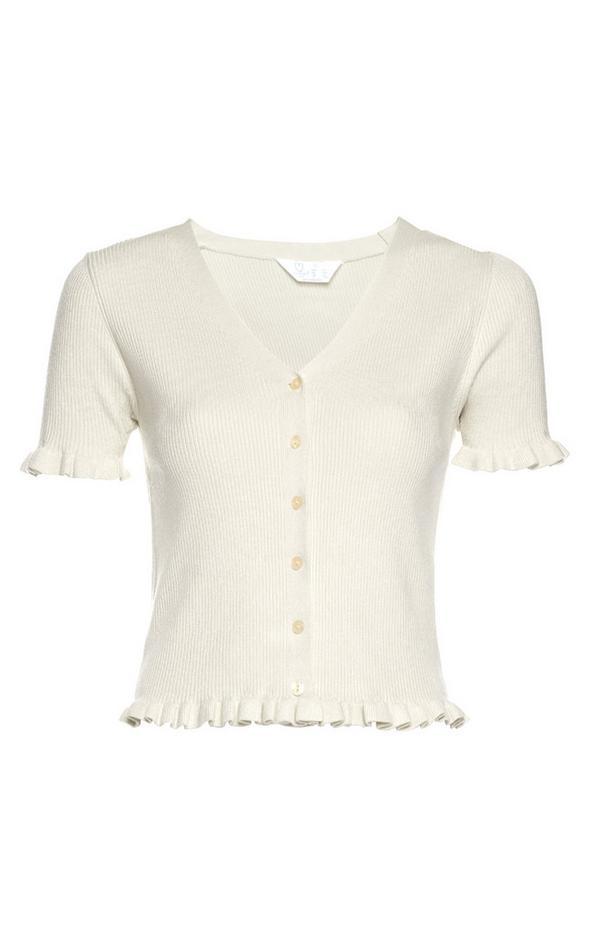 Ivory Short Sleeve Ruffle Hem Cardigan