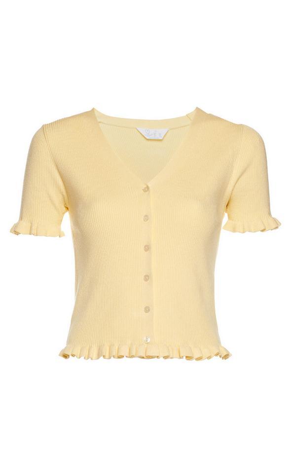Cardigan jaune à manches courtes avec ourlet à volants