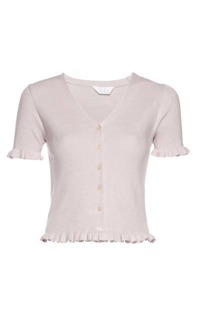 Pink Short Sleeve Frill Hem Cardigan