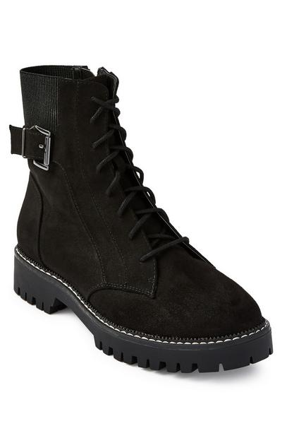 Black Elastic Insert Lace Up Boots