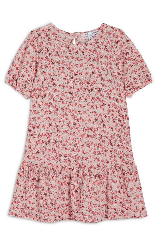 Younger Girl Red Floral Puff Sleeve Crinkle Dress