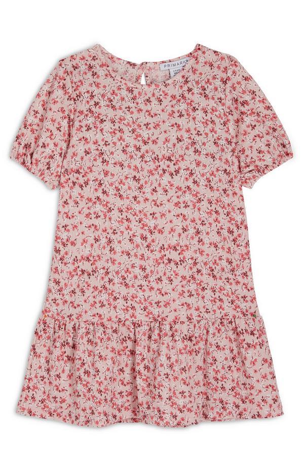 Rode kreukeljurk met pofmouwen en bloemenprint voor meisjes