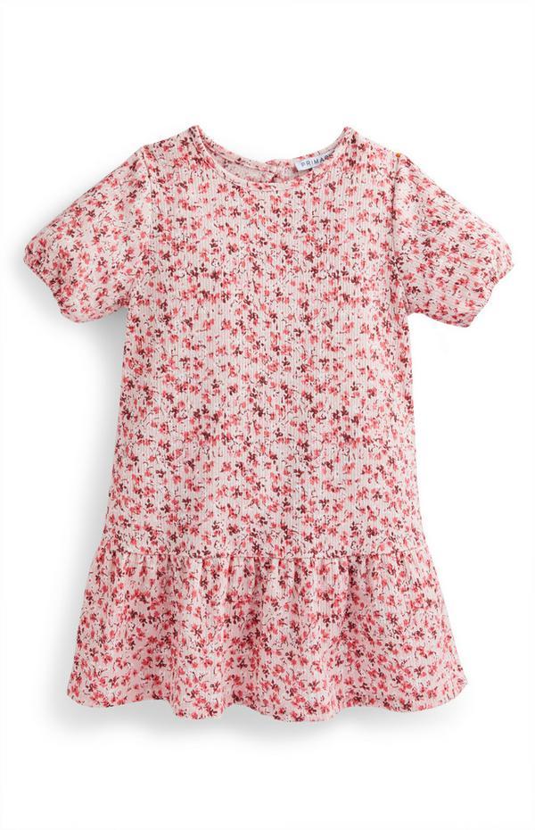 Rosa Kleid in Knitteroptik mit Blumen (kleine Mädchen)