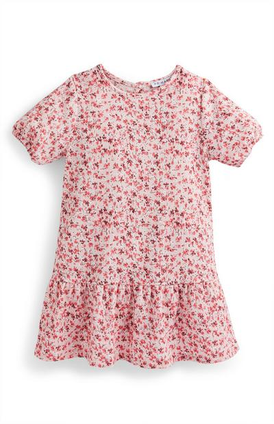 Younger Girl Pink Floral Puff Sleeve Crinkle Dress
