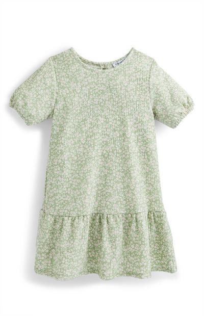 Vestido fruncido de manga abullonada para niña pequeña