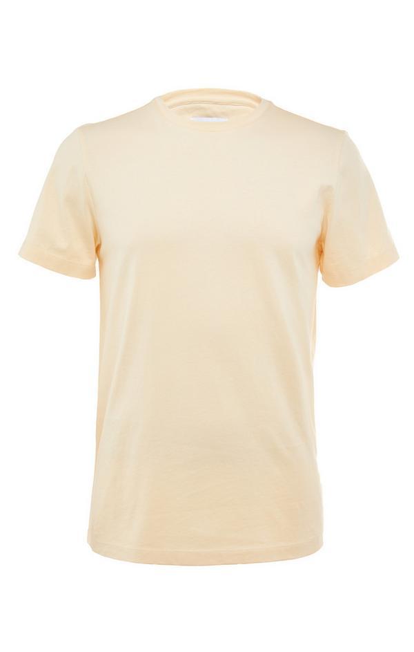 T-shirt jaune ras du cou en coton mercerisé Premium