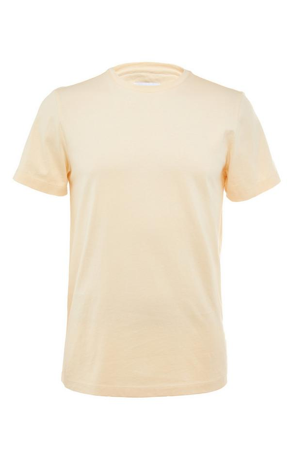 Rumena premium majica iz merceriziranega bombaža z okroglim ovratnikom