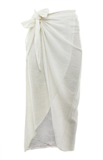 White Side Tie Long Sarong