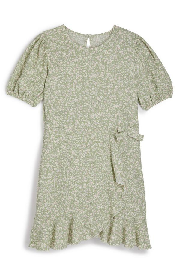 Grünes geblümtes Wickelkleid mit Rüschen (Teeny Girls)