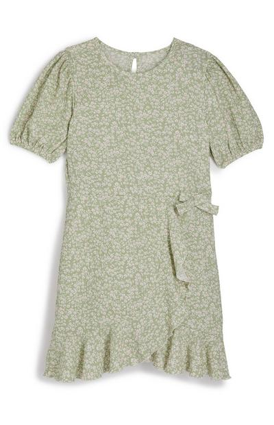 Older Girl Green Floral Wrap Frill Dress