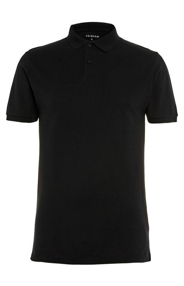 Black Pique Polo T-Shirt