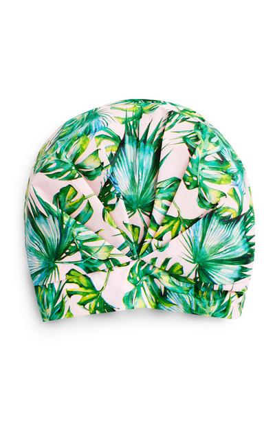 Green Tropical Print Turban Shower Cap
