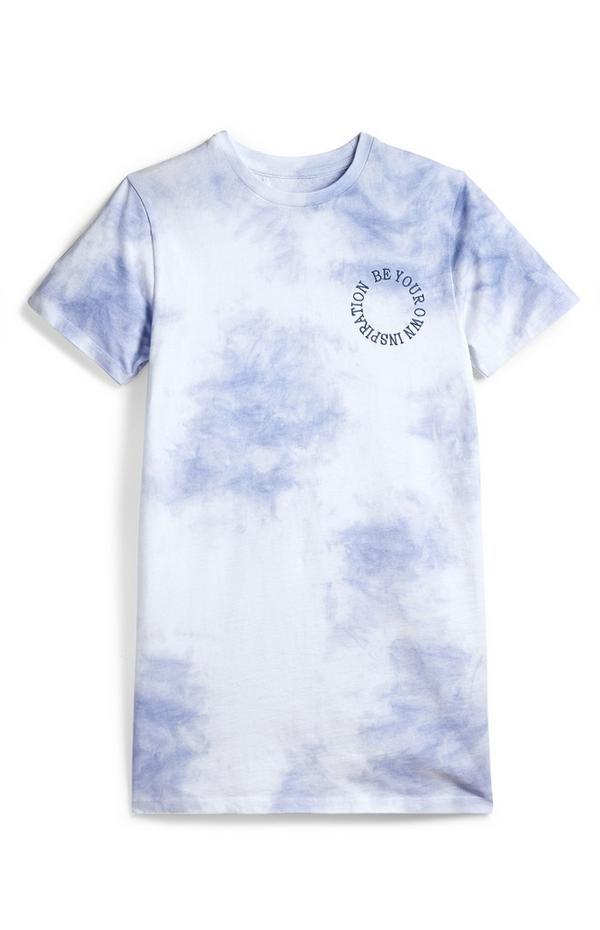 Blauwe tie-dye T-shirtjurk voor meiden