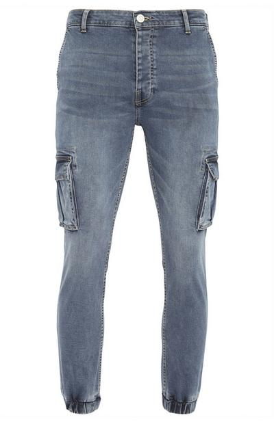 Smokey Blue Denim Cuff Cargo Jeans