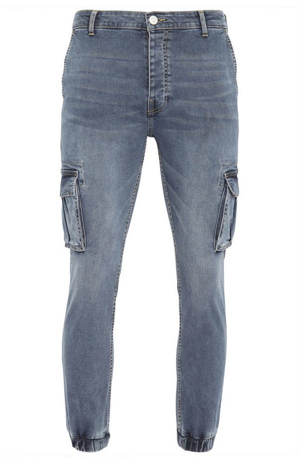 Smokey Blue Denim Cuff Cargo Jeans
