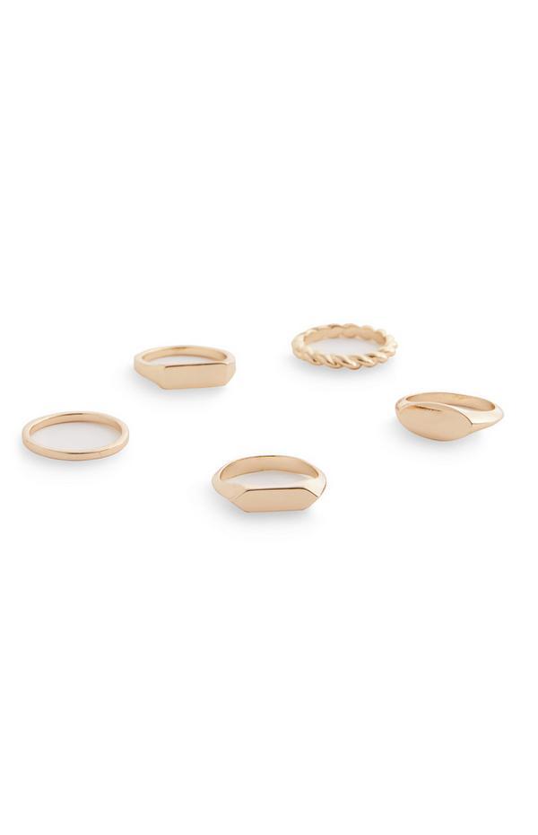 Goldtone Plain Mixed Rings 5 Pack